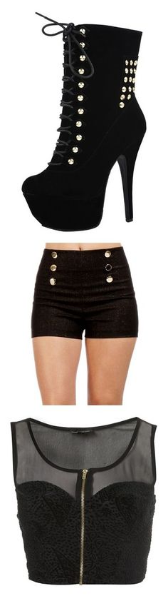 """Collection #17"" by kawaiigirl-932 ❤ liked on Polyvore featuring shoes, boots, heels, sapatos, botas, black, short black boots, black ankle booties, heeled booties and lace up ankle boots"