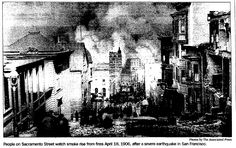 "A photo of the fires burning San Francisco during the 1906 earthquake, published in the Register Star newspaper (Rockford, Illinois), 18 April 2005. Read more on the GenealogyBank blog: ""Researching the San Francisco Earthquake of 1906 in the News."" http://blog.genealogybank.com/researching-the-san-francisco-earthquake-of-1906-in-the-news.html"
