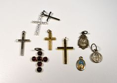 Lot of Vintage 3 Small Religious Medals 6 Vintage  Now Small Crosses Crucifixes