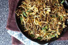 green bean casserole with crispy onions