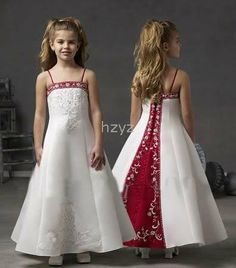 red and white flower wedding dress | ... white+red stain wedding dresses Flower Girl-in Flower Girl Dresses