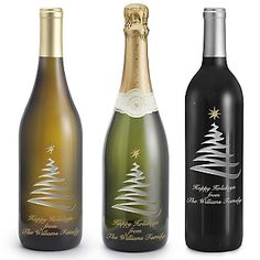 This would be a great project to do with my new Silhouette!!! Personalized Swirly Tree Etched Wine Bottles , With Your Message