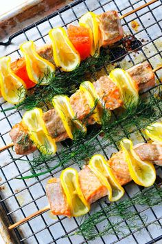 Grilled citrus, dill and kabob bbq recipe for tailgating with your fire pit