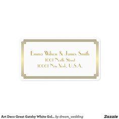 Art Deco Great Gatsby White Gold Address Labels