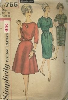 An original ca. 1961 Simplicity Pattern 3755.  Dress has lowered neckline with buttoned tab extension at center front, set-in sleeves, left side zipper and self or purchased belt.  V. 1 has 3/4 length sleeves with notch detail, 4 gore skirt.  V. 2 and 3 have short sleeves, slim skirt with soft pleats at front waistline and back kick pleat.  V. 2 has collar.  V. 3 has pockets and detachable contrasting neckline and sleeve trim.