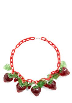 Panache in the Patch Necklace by Hannah Makes Things - Red, Green, Fruits