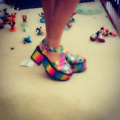 Karina in the YRU Chariot Platform #rainbow    Get the sandals: http://nastygal.com/product/yru-chariot-platform?utm_source=pinterest&utm_medium=smm&utm_term=ngdib&utm_content=omg_shoes&utm_campaign=pinterest_nastygal