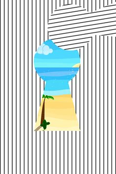 Keyhole Showing the Summer. Simple Striped Poster in a Flat Style