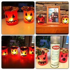 Cute fall craft. Mason jar pumpkins with raffia hats.