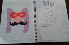 Μ Book Letters, Alphabet Activities, School Life, Babysitting, Motor Skills, Diy And Crafts, Bullet Journal, Colours, Apple