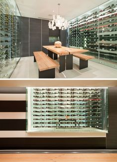 Wine Storage Ideas - This modern house has a custom-designed wine room that's furnished with a large wood and steel table and benches, while glass walls provide storage for the wine collection. Built In Bathtub, Wine Storage, Storage Ideas, Entertainment Wall, Wood Shutters, Wine Collection, Wood Vanity, Steel Table, Los Angeles Homes