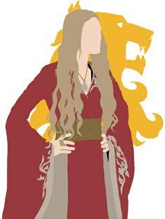 Minimalist Queen Cersei with Lannister Sigil - Game of Thrones by Cersei Lannister, Minimalist Poster, Minimalist Art, Queen Cersei, Dark Words, Game Of Thrones Tv, George Rr Martin, Fire Book, Book Fandoms