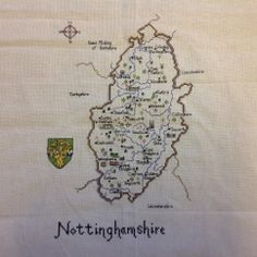 Map of Nottinghamshire county, East Midlands region of England, UK