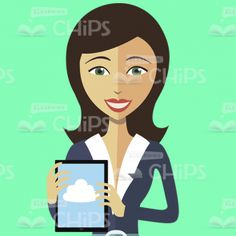 Strict Lady With a Tablet Vector Character