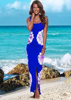 Head-to-toe in tie dye! Venus tie dye maxi dress.