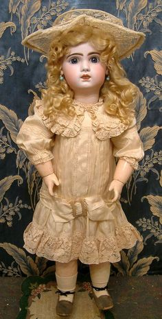 """27"""" Size 11 Antique Tete Jumeau Bebe Doll Circa 1892 With Working Pull String Crier"""