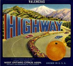 Ontario Highway Orange Citrus Crate Label Art Print