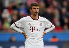 Thomas Mueller of FC Bayern Muenchen seen during the Bundesliga match between Bayer 04 Leverkusen and Bayern Muenchen at BayArena on April 15, 2017 in Leverkusen, Germany.