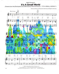 Repurposed Sheet Music Featuring Hand Painted Watercolor of Disney's Its A Small World *Buy 2 get 3rd FREE