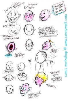 Mimik und Ausdruck, ein wichtiges Thema des Comic Workshops. Comic Workshops auf Anfrage unter www.connywolf.com