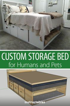 Make a custom bed frame with lots of drawers under the bed and shelving in the headboard for storage along with a special built-in pet bed. # diy furniture bedroom Custom Storage Bed for Humans and Pets Diy Furniture Easy, Furniture Projects, Cool Furniture, Bedroom Furniture, Furniture Makeover, Furniture Layout, Furniture Plans, Diy Storage Furniture, Palette Furniture