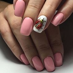 Another Ladybug on Nail. Another ladybug on nail art design is worth trying this summer, if you are o0ne of the nature lovers. Coat all your nails with the nude pink color and emboss a lady bug on ring finger nail with the gold touch and black details.