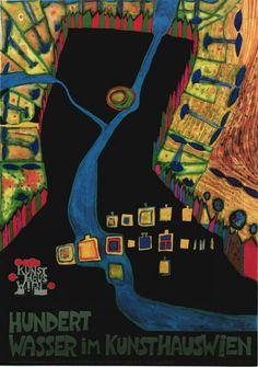Hundertwasser, Art Exhibition Poster, Vienna 1990s
