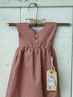 Primitive folk art doll dress red checked cotton by Rusty Bucket Prims, via Flickr