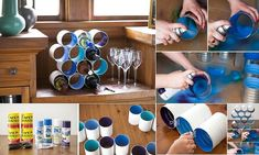 DIY Wine Bottle Rack Made From Coffee Cans  http://livehealthywithpatty.com/blog/diy-wine-bottle-rack-made-from-coffee-cans/