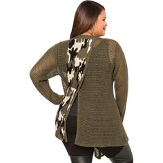 Ashley Stewart Split Back Camo Cardigan Sweater (65 CAD) ❤ liked on Polyvore featuring tops, cardigans, womens plus tops, brown open front cardigan, draped cardigan, open front cardigan and plus size drape cardigan