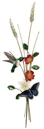 Hummingbird and Butterfly Vertical Sculpture