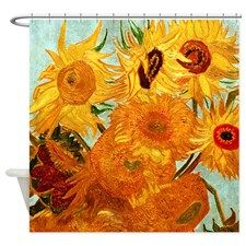 Van Gogh Twelve Sunflowers Shower Curtain in 100% softened polyester.