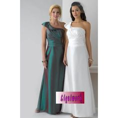 White Green One Shoulder Wedding Mother of Brides Evening Ball Gowns  SKU-1040120