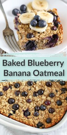 This Blueberry Banana Baked Oatmeal is easy to make and perfect for a quick, healthy breakfast or snack throughout the week! #healthy #breakfast #bakedoatmeal #livewellbakeoften Baked Oatmeal Cups, Baked Oatmeal Recipes, Baked Oats, Banana Oatmeal Bake, Baked Blueberry Oatmeal, Oatmeal Bars, Brunch Recipes, Dessert Recipes, Strawberry Desserts