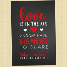 Valentines pregnancy announcement card - Valentine's Day greetings card (Love is in the air...)