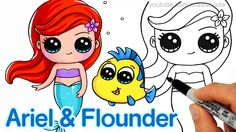 How to Draw 'Baby' Ariel and Flounder step by step Easy -Disney Little M...