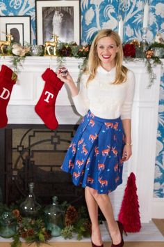 Reese Witherspoon wearing Draper James Lace Stripe Augusta Sweater and Draper James Oh Deer Skirt