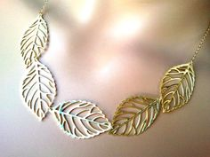 Autumn Leaves Gold statement necklace Gold necklace by LaLaCrystal, $27.50