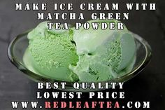 "Make great tasting Green Tea Ice Cream. We offer largest selection of green tea powders at the lowest price.  Please use coupon ""PINTEREST20"" for 20% discount on our matcha tea products. www.RedLeafTea.com  #matcha #greenteapowder #icecream Green Tea Ice Cream, Make Ice Cream, Matcha Green Tea Powder, Icecream, Coupon, Ethnic Recipes, Desserts, How To Make, Food"