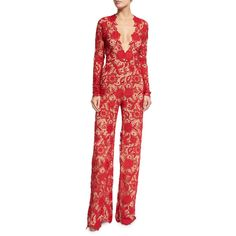 Naeem Khan Long-Sleeve Plunging Lace Jumpsuit ($3,990) ❤ liked on Polyvore featuring jumpsuits, red, long sleeve jump suit, floral print jumpsuit, jump suit, red long sleeve jumpsuit and floral jumpsuit