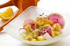Salad of seasonal fruit, jicama root, cucumbers, queso fresco and chile pequín.
