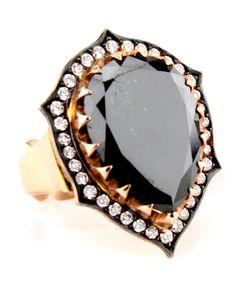 Sylva & Cie Pear Shaped Black Diamond Ring