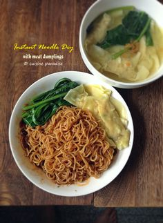 Cuisine Paradise | Singapore Food Blog | Recipes, Reviews And Travel: Quick Meals With Instant Noodles - Instant Noodles Dry with meat dumplings
