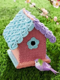 LOVE for Spring! Yarn-Bombed Birdhouse Pattern - Free Crochet Pattern for this cute project.
