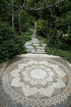 mandala flower mosaic floor patio walkway garden path henna petals stones spiral boho bohemian art style decor decoration interior design outdoors