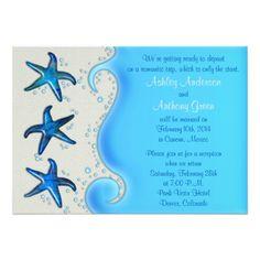 Destination Wedding Reception Cards Paua Shell Starfish Post Wedding Reception Only 2 Card