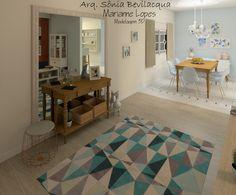Design interiores estilo provençal contemporâneo para hall de entrada e sala de jantar.