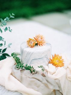 marble cake with orange florals