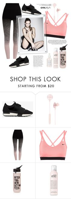 """Work It Out: Gym Essentials"" by bklana ❤ liked on Polyvore featuring Balenciaga, i.am+, Pepper & Mayne, NIKE, ban.do, philosophy, Herbivore, H&M, bklana and gymessentials"