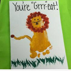 Father's Day Footprint Lion Card | Easy Fathers Day Cards for Kids to Make
